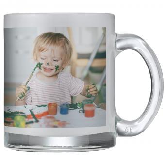 Foto-Tasse aus Glas satiniert