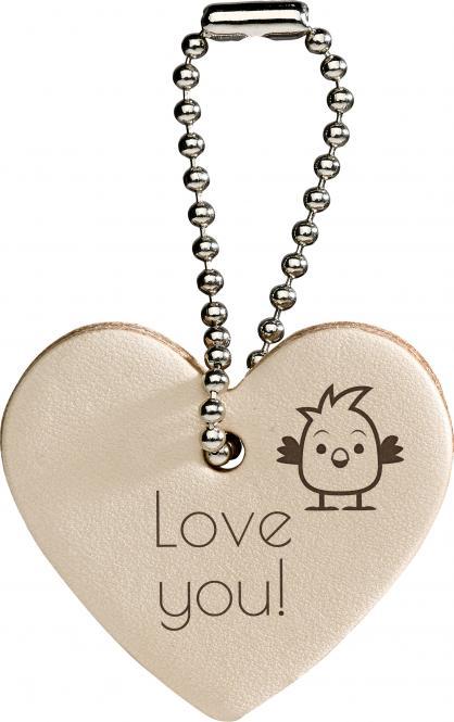 Lederanhänger Herz Herz | Beige